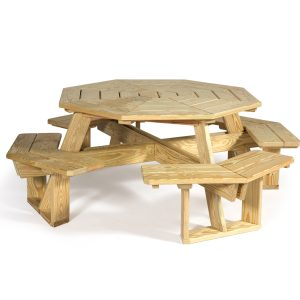 Octagonal Picnic Table with Attached Seat & Umbrella Holder