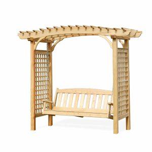wood arbor with swing