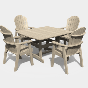 4′ x 4′ Adirondack 5 Piece Dining Set