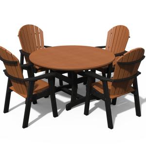 54″ Adirondack Round 5 Piece Dining Set